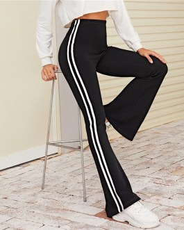 Striped Side Flare Leg Stretchy Casual Long Trousers