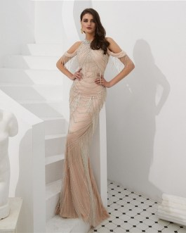 Tassel Mermaid Sexy Backless Back Evening Party Gown