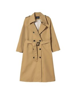 Trench Coat Double Breasted Medium Length Slim Fit Coat