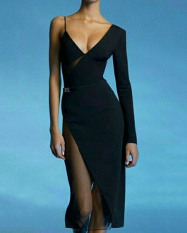 V-Neck Zipper Long Sleeves Color Block Layered Semi Formal Party Dresses