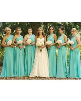 A Line Chiffon One Shoulder Floor Length Prom Bridesmaid Dresses