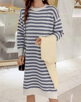 Beautiful Stripes Split Front Jewel Neck Long Sleeves Knitted Dress