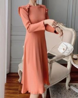 Elegant Ruffles Long Sleeves Jewel Neck Knitted Dress