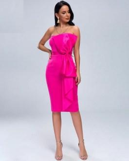 Elegant Solid Color Knee-length Bodycon Dress