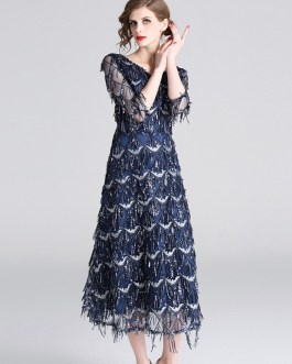 Fashion Elegant Tassel Long Runway Party Dress
