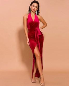 Elegant Deep V Off Shoulder High Split Velvet Backless Maxi Dresses