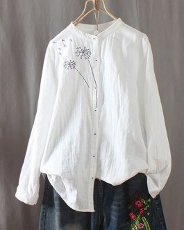 Embroidered Crew Neck Long Sleeve Vintage Blouse