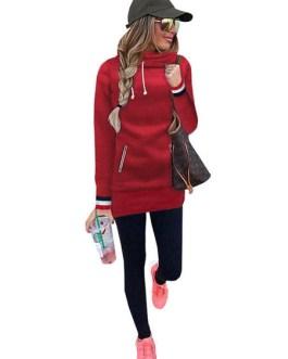 Hooded Long Sleeve Striped Fleece Hoodie Dress