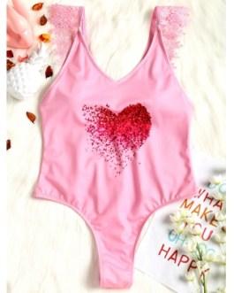Lace Applique Plunge High Leg Valentine Swimsuit