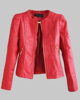 Leather Jacket Leather Coat Zippered Long Sleeve Motorcycle Jacket