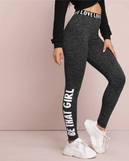 Letter Print Graphic Marled Casual Wear Legging