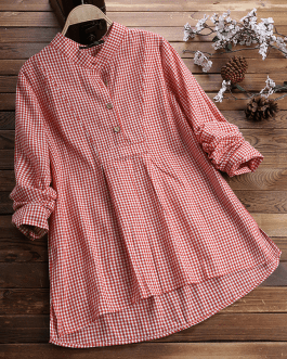Plaid Long Sleeve Button Irregular Vintage Plus Size Shirt