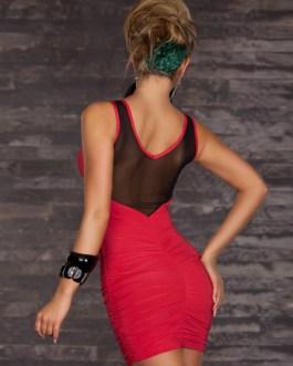 Semi-Sheer Mesh Slim Fit Club Dress