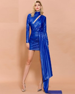 Sexy High Neck Hollow Out Long Sleeve Maxi Dress