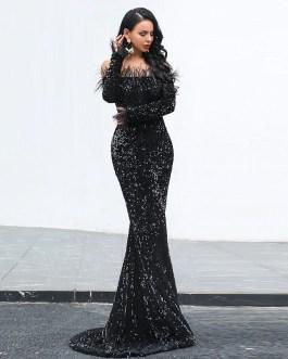 Sexy Off Shoulder Reflective Maxi Dress
