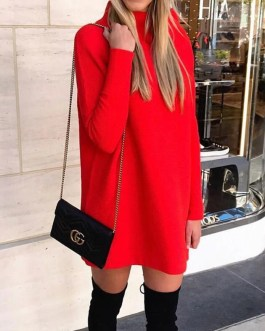 Solid Color Fashion Long Sleeve O Neck Mini Dress