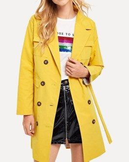 Trench Coat Oversized Turndown Collar Long Sleeves Buttons Coat