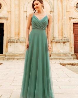 Tulle A Line V Neck Floor Length Wedding Party Bridesmaid Dress