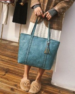 Women Tassel Large Capacity Tote Handbags Shoulder Bags