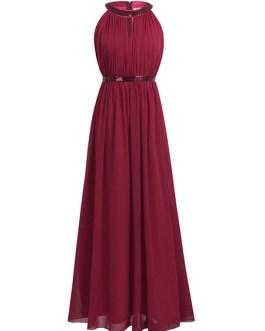 A Line Halter Neck Floor Length Zipper Matte Satin Prom Bridesmaid Dress
