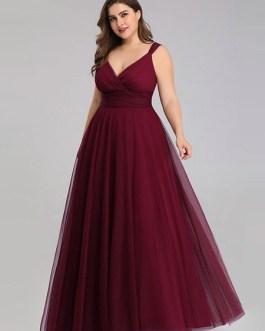 A Line V Neck Floor Length Zipper Matte Formal Gowns Wedding Party Bridesmaid Dress