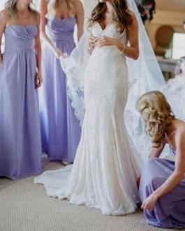 Bridesmaid Dress A Line Floor Length Backless Chiffon Prom Dress