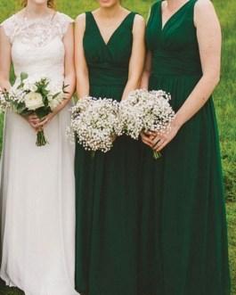 Bridesmaid Dress Chiffon V Neck A Line Floor Length Formal Gowns Wedding Party Dresses