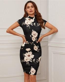 Elegant Mock-Neck Floral Print Bodycon Dresses