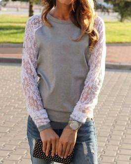 Feminine Lace Sleeves Sweatshirt
