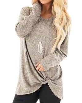 Long Sleeves Knotted Casual top