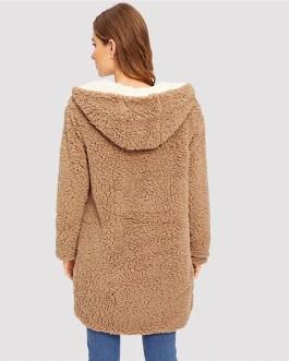 Reversible Hoodies Elegant Street wear Warm Teddy Coat