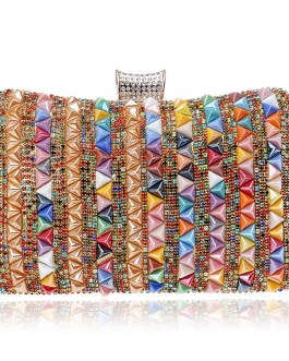 Rivet Candy One Side Metal Beading Party Clutch