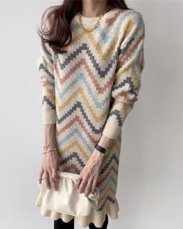 Ruffles Sweet Knitting Straight Warm Korean Style Casual Sweater Dress