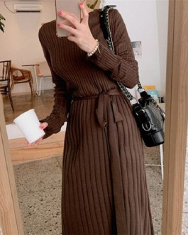 Sashes Bow Solid Straight Warm Casual Office Ladies Sweater Dress