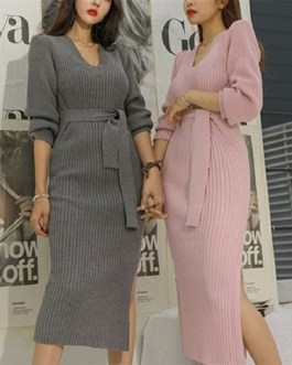 Skinny Knitting Sashes Warm Split Korean Style Casual Sweater Dress