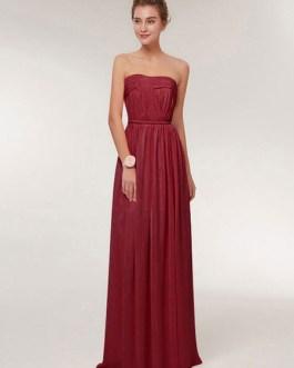 Sweetheart Strapless A Line Floor Length Chiffon Prom Bridesmaid Dress