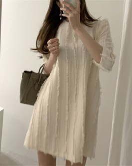Three Quarter Korean Style Fashionable Elegant Mini Sweater Dress