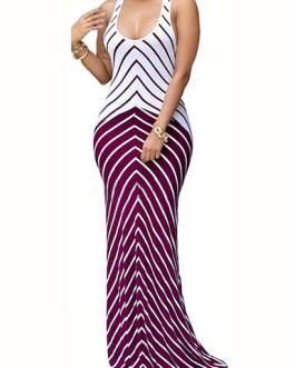 Two Tone Bold Stripe Design Long Dress