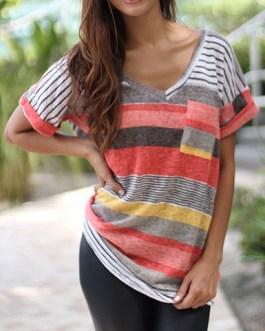 V Neckline Striped T-Shirt