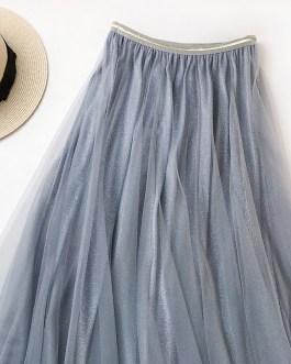 Ankle Length High Waist Pleated Midi Skirt