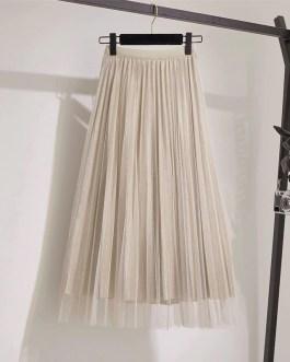 Midi Pleated Lace Fashion Skirt