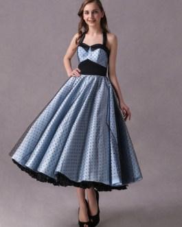 Rockabilly Short Polka Dot Print Halter Tea Length Vintage Wedding Party Bridesmaid Dresses