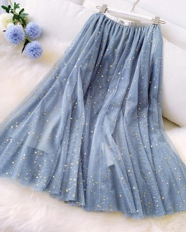 Star Sequined Pleated Holiday Skirts