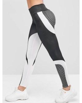 Two Tone Honeycomb Stretchy Elastic Gym Leggings