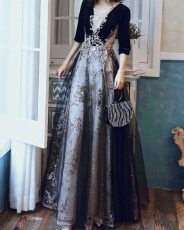 A Line Jewel Neck Sequined Half Sleeves Applique Floor Length Formal Party Dresses