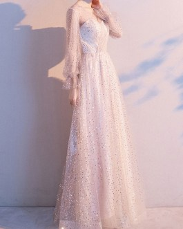 A Line V Neck Sequined Long Sleeves Wedding Guest Dresses