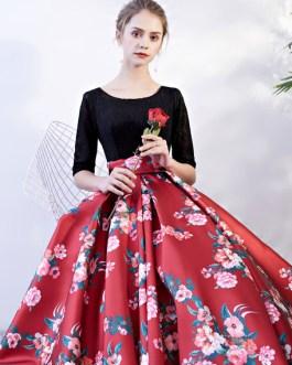 Prom Dresses Floral Print Quinceanera Dress Backless Lace Satin Chapel Train Women Pageant Dress