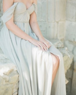 Bridesmaid Dress Chiffon A Line Sweet Heart Off The Shoulder Short Sleeve Split Front Formal Gowns