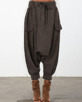 Causal Loose Elastic Waist Harem Pants For Women