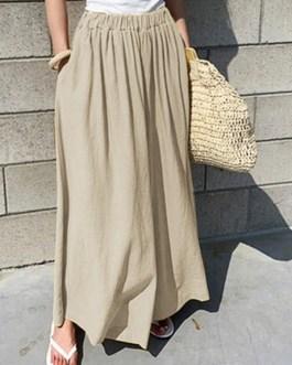 Elastic Waist Cotton Loose Wide Leg Pants with Pockets